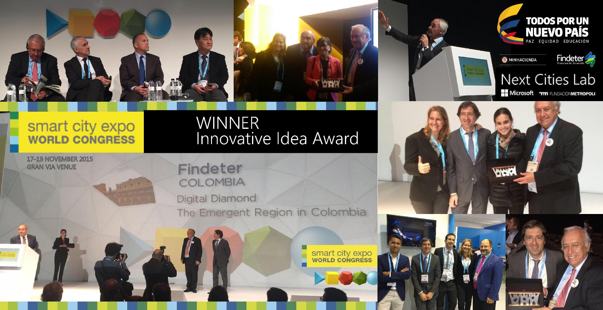 Proyecto Diamante Caribe y y Santanderes de Colombia recibió el premio global a la Mejor Idea Innovadora en el Smart City Expo 2015.