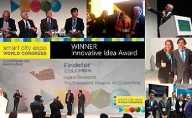 Entrega del premio a Diamante Caribe en la Smart City Expo 2015