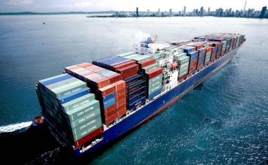 Una bahía amplia, profunda y segura garantiza excelentes condiciones para el tránsito de modernos buques portacontenedores de hasta 14.000 TEUs.