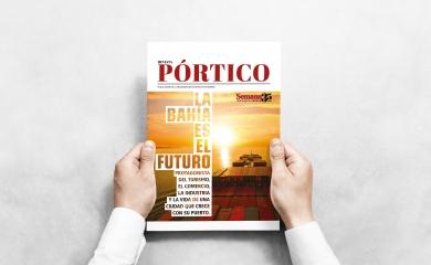 """Esta es la edición #22 de la revista Pórtico titulada """"La bahía es el futuro"""" una publicación realizada por la Organización Puerto de Cartagena y Publicaciones Semana"""
