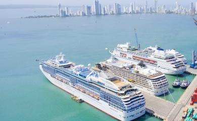 Nuevamente cuatro cruceros estarán de manera simultánea en los muelles de la Terminal de Cruceros de Cartagena.