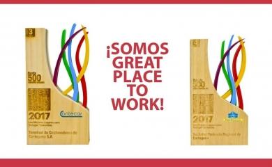 En la ceremonia anual que realiza la firmaGreat Place to Work® Institutey Portafolio se reconoció el pasado miércoles 13 de diciembre a la Sociedad Portuaria Regional de Cartagena y a Contecar en la lista de las mejores empresas para trabajar en Colombia.