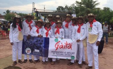 """Por segunda ocasión consecutiva los jóvenes que hacen parte del grupo de """"Gaita Juventud Líder"""" de la Fundación Puerto de Cartagena fueron invitados a participar en la edición XXXII del Festival de Tambores y Expresiones Culturales de Palenque."""