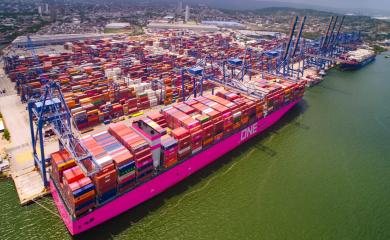 Engalana la bahía de Cartagena gigante barco magenta