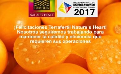 Terrafertil Nature´s Heart ganó el premio nacional de Exportadores Analdex en la categoría mediana empresa. Ellos, tienen en la Organización Puerto de Cartagena un aliado para sus exportaciones, dado que por las terminales de Sociedad Portuaria de Cartagena y Contecar realizan sus procesos de embarque.